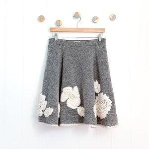 Anthropologie Kittatinny Embroidered Sweater Skirt